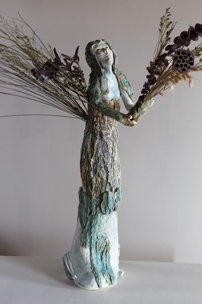 """Mother Earth""<br/>Mixed Media & Glazed Stoneware, 38"" X 11"" X22"", SOLD"