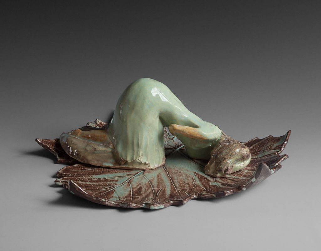 """Touching the Earth""<br/>Glazed Stoneware, 5"" X 12"" X 12"", SOLD"