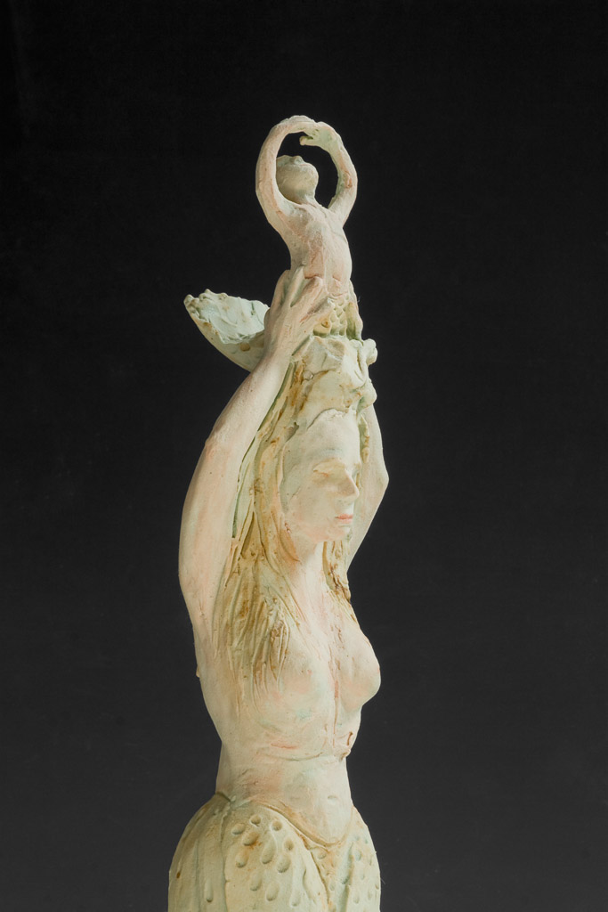 """Mermaid and Her Young""<br/>Stoneware, 22"" X 9"",  $900"