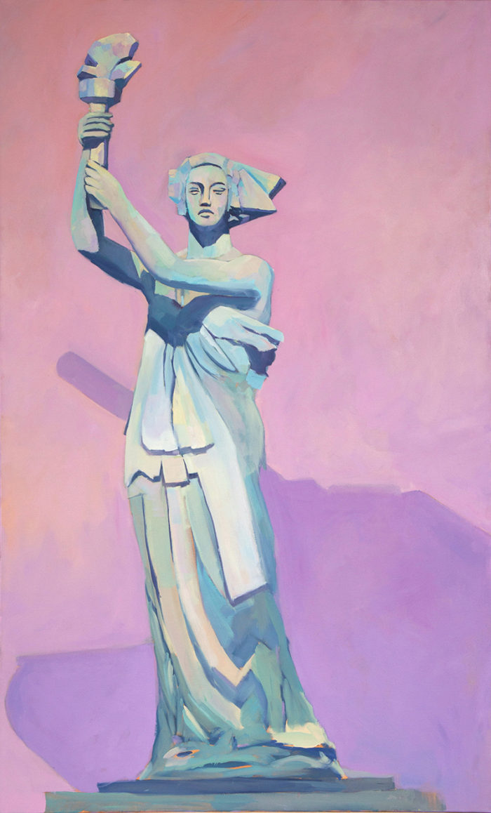 Mary Michaela Murray, Goddess of Democracy, 2017, oil on canvas, 60 x 36 inches