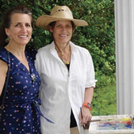 "Blog_08.12.19 Lilla Matheson Ohrstrom and Helen Matheson Hillard painting ""en plein air"" at the 2019 Virginia Landtrust Garden Party at Hickory Tree Farm."